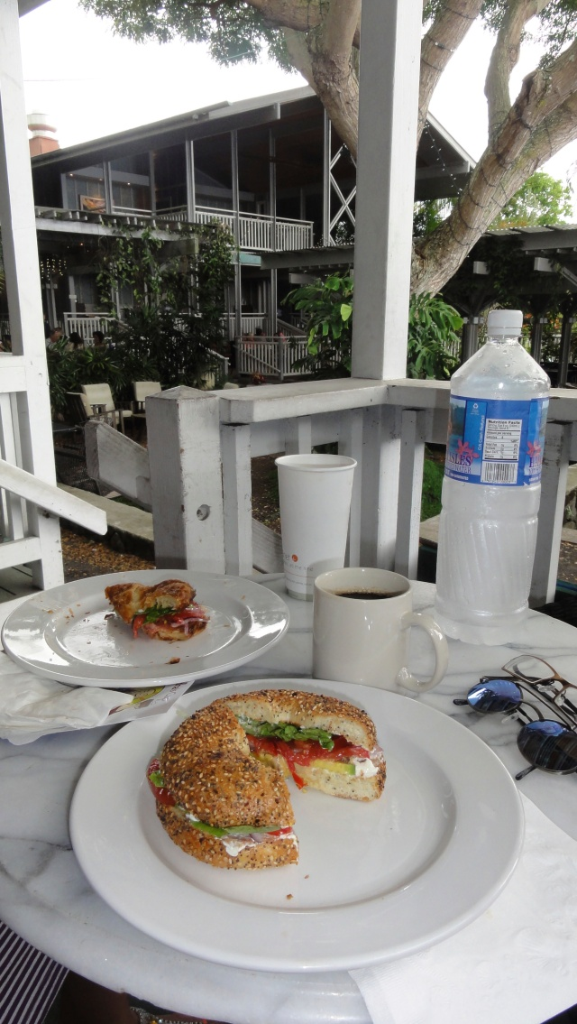 Morning bagels and croissants at Holuakoa Café