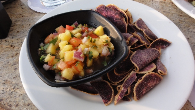 Sam Choy's big island pineapple salsa and tortilla chips